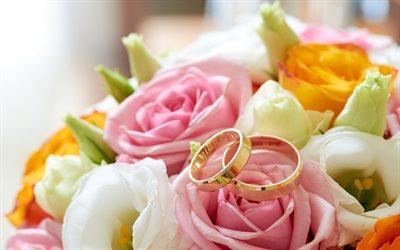 wedding rings, gold jewelry, pink roses, wedding concepts, gold rings, 4k