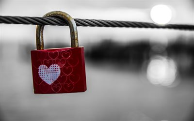 Castle with a heart, ared lock, rope, love forever concepts, Valentines Day