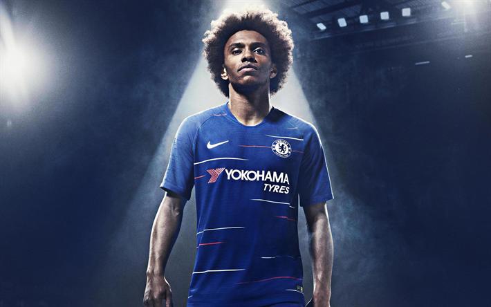 Download Wallpapers Willian, Chelsea FC, Portrait