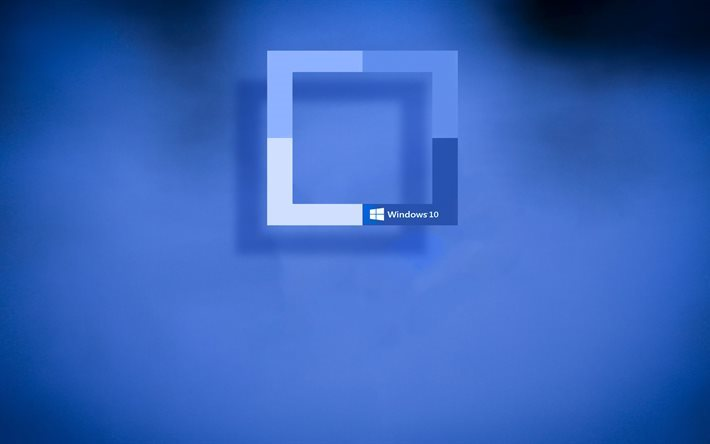 Windows 10, rectangles, blue background, creative