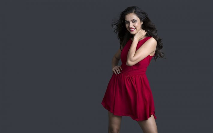 f243ddb2da Manasi Moghe, Indian actress, Red dress, smile, beautiful woman, brunette
