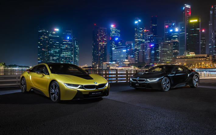 Download Wallpapers 4k Bmw I8 Headlights 2018 Cars Nightscapes