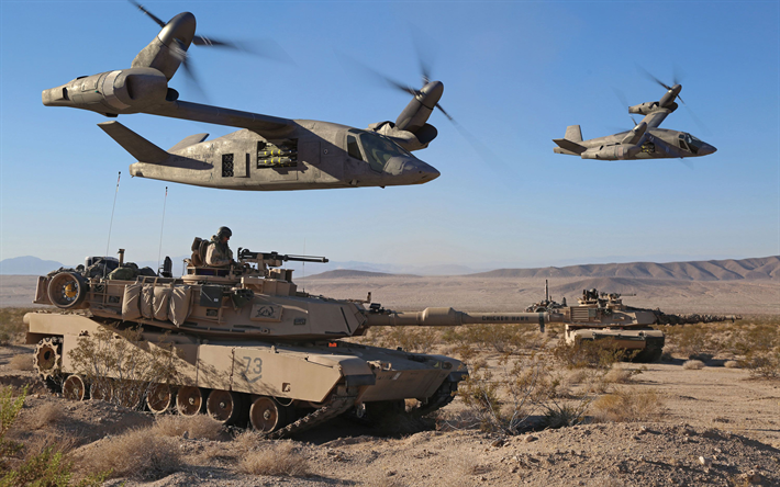 Bell V-280 Valor, 4k, convertoplan, attack helicopter, V-280 Valor, M1A2 Abrams, combat aircraft, US Army, Bell