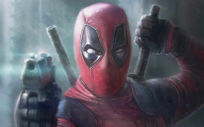 Deadpool 30 Superhéroes: Скачать обои Deadpool 2, Gun, 2018 Movie, Superheroes
