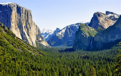yosemite valley, 4k, berge, wald, sommer, yosemite national park, sierra nevada, usa, amerika