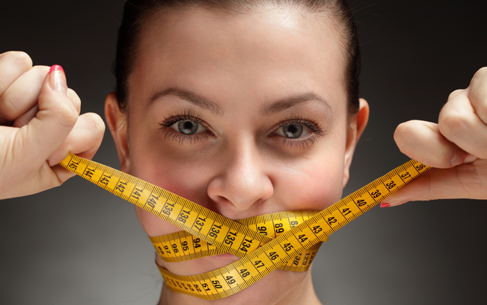 diet concepts, measuring tape, tied up mouth, diet, properly eating, weight loss