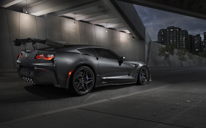 Chevrolet Corvette ZR1, 2019, Rear View, Luxury Black Sports Car, Exterior,