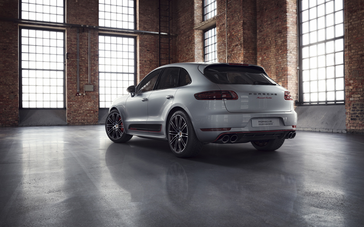 Download Wallpapers Porsche Macan Turbo 2018 Exclusive Performance Edition Exterior New Gray Macan Sporty Suv Tuning Macan Back View Porsche For Desktop Free Pictures For Desktop Free
