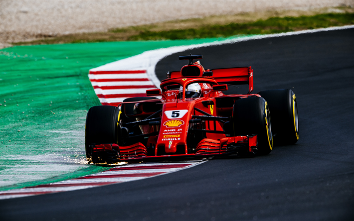 Download Wallpapers Sebastian Vettel 4k Ferrari Sf71h 2018 Cars Raceway Formula 1 New Ferrari F1 F1 New Cockpit Protection Halo Sf71h Ferrari Ferrari 2018 For Desktop Free Pictures For Desktop Free