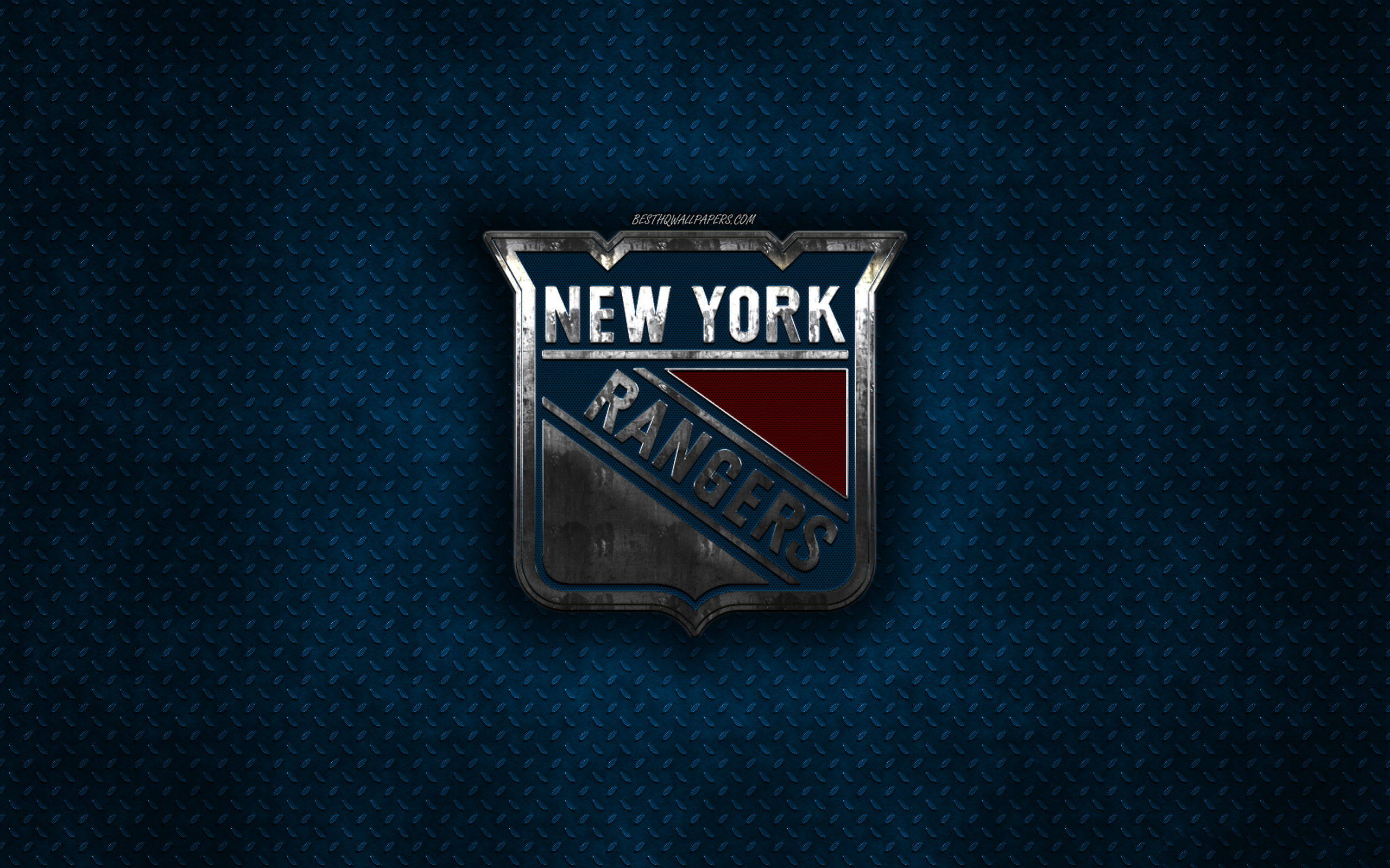 Download Wallpapers New York Rangers American Hockey Club Blue Metal Texture Metal Logo Emblem Nhl New York Usa National Hockey League Creative Art Hockey For Desktop With Resolution 2560x1600 High Quality Hd