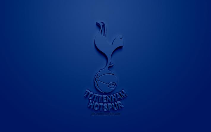 Scarica Sfondi Il Tottenham Hotspur Fc Creativo Logo 3d Sfondo Blu