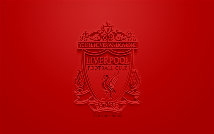 Download Wallpapers Liverpool FC, Creative 3D Logo, Red