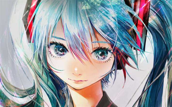 Download wallpapers 4k, Miku Hatsune, girl with blue hair