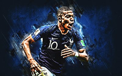 Kylian Mbappe, French football player, portrait, France national football team, 10th number, striker, creative art, blue stone texture, France, football