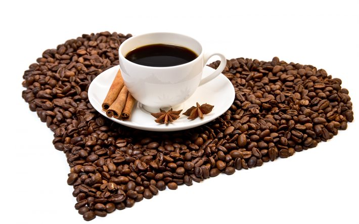 love for coffee, cup of coffee, White background, coffee beans in the shape of a heart