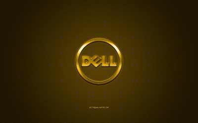 Dell round logo, gold carbon background, Dell gold metal logo, Dell blue emblem, Dell, gold carbon texture, Dell logo