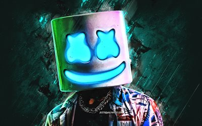 Marshmello, American DJ, turquoise stone background, portrait, DJ console, Christopher Comstock