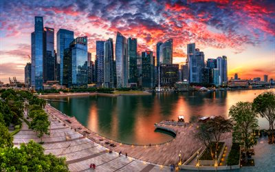Singapore, 4k, sunset, skyscrapers, Marina Bay, evening, HDR, cityscapes, Asia, modern buildings
