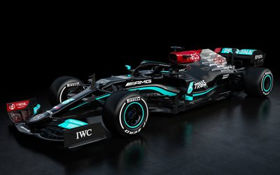Mercedes-AMG F1 W12 E Performance, 2021, 4k, exterior, front view, F1 2021 race cars, new W12 F1, Formula 1, Mercedes-AMG Petronas F1 Team