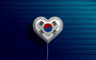 I Love South Korea, 4k, realistic balloons, blue wooden background, Asian countries, favorite countries, flag of South Korea, balloon with flag, South Korean flag, South Korea, Love South Korea