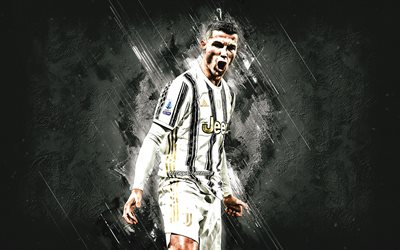 Cristiano Ronaldo, Juventus FC, CR7, world football star, Serie A, Italy, football, white stone background