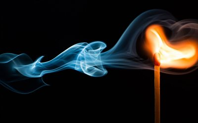 match fire, blue smoke, burning match on black background, fire concepts, smoke, match