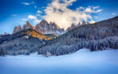 San Giovanni Church, morning winter, Funes Valley, alps, church in the mountains, winter landscape, mountain landscape, Ranui, Italy