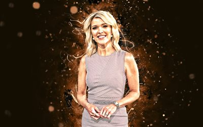 Megyn Kelly, 4k, brown neon lights, american journalist, american celebrity, Megyn Marie Kelly, beauty, Megyn Kelly 4K