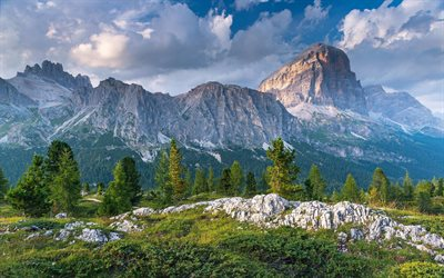 Dolomites, evening, sunset, Alps, mountain landscape, rocks, forest, Italy