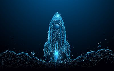 rocket on a blue background, blue lines rocket, startup blue background, startup concepts, rocket neon light, rocket