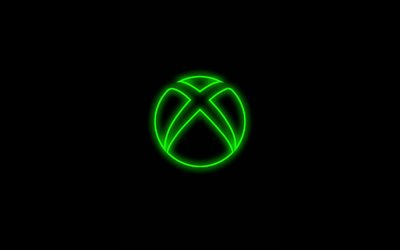 Xbox green logo, minimalism, black backgrounds, creative, artwork, Xbox logo, brands, Xbox