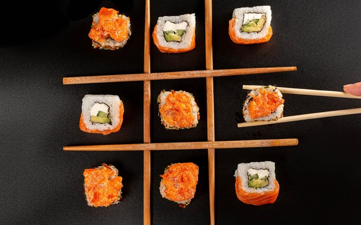 sushi, japanese cuisine, sushi on the table, california sushi, selection of sushi concepts, different sushi