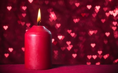 burning candle, romantic background, pink background, big pink candle, background with red hearts