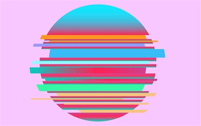 colorful balloon ball, 4k, minimal, creative, ball of stripes, pink backgrounds, stripes