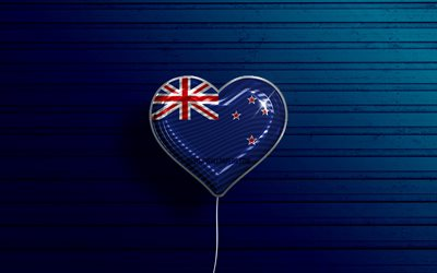 I Love New Zealand, 4k, realistic balloons, blue wooden background, Oceanian countries, New Zealand flag heart, favorite countries, flag of New Zealand, balloon with flag, New Zealand flag, Oceania