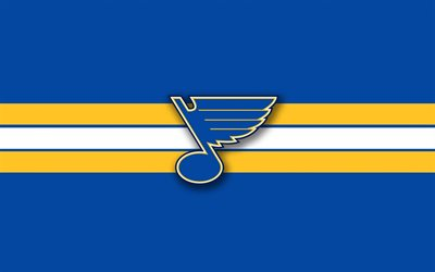 St Louis Blues, logo, emblem, blue yellow background, NHL, American hockey club