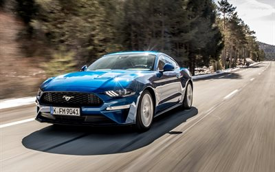Ford Mustang, 2018, Ecoboost, Fastback, blue sports coupe, new blue Mustang, American cars, Ford
