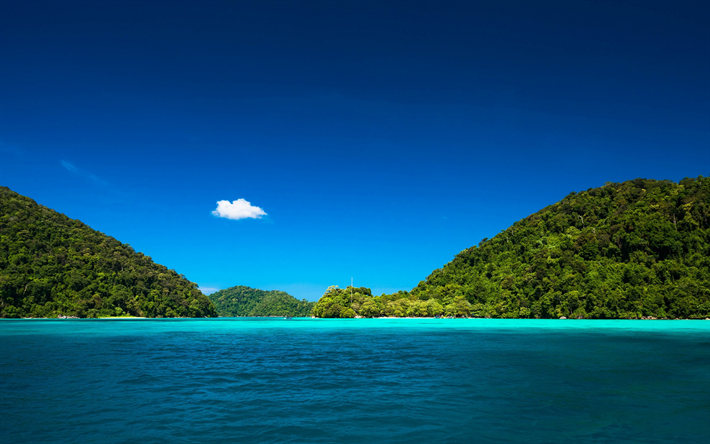 Lagoon Tropical Island: Download Wallpapers Blue Lagoon, Ocean, Tropical Island