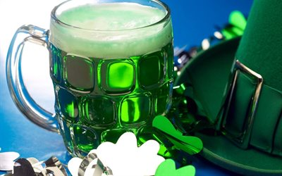 St Patricks Day, green beer, glass of beer, Ireland, traditional drinks, beer