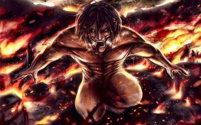 Download Wallpapers Eren Yeager 4k Attack On Titan Fire Manga Shingeki No Kyojin Green Eyes Attack On Titan Characters Eren Yeager In Fire For Desktop Free Pictures For Desktop Free