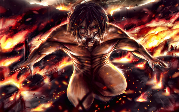 Download Wallpapers Eren Yeager 4k Attack On Titan Fire