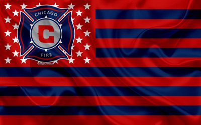 Chicago Fire, American soccer club, American creative flag, red blue flag, MLS, Chicago, Illinois, USA, logo, emblem, Major League Soccer, silk flag, soccer, football