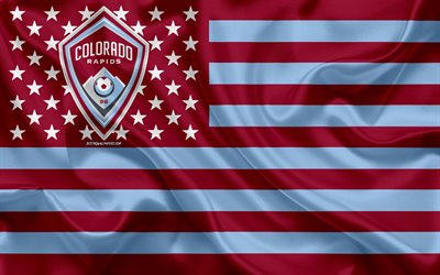 Colorado Rapids, American soccer club, American creative flag, violet blue flag, MLS, Denver, Colorado, USA, logo, emblem, Major League Soccer, silk flag, soccer, football