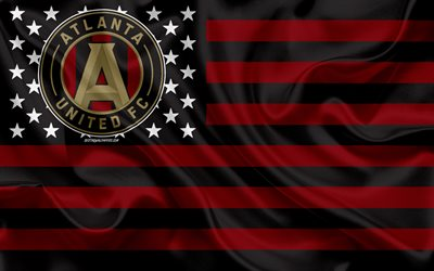 Atlanta United FC, American soccer club, American creative flag, black and red flag, MLS, Atlanta, Georgia, USA, logo, emblem, Major League Soccer, silk flag, soccer, football