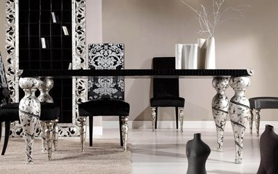 stylish black and white interior, classic style, living room, luxurious black and white furniture, floral patterns, modern interior design