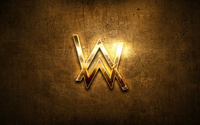 Alan Walker golden logo, superstars, stage, DJ Alan Walker, DJs, metal background, Alan Walker, creative, Alan Walker logo