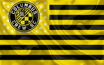 Columbus Crew, American soccer club, American creative flag, yellow black flag, MLS, Columbus, Ohio, USA, logo, emblem, Major League Soccer, silk flag, soccer, football