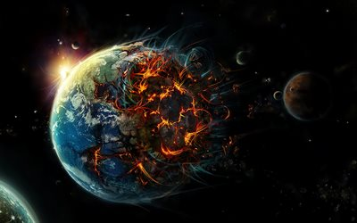 apocalypse, destruction of the earth, art, earth explosion, earth destruction