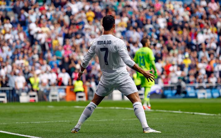 Download Wallpapers Cristiano Ronaldo Real Madrid Traditional Celebration Of Goals La Liga Spain Football Star Stadium Football Portuguese Footballer 4k For Desktop Free Pictures For Desktop Free