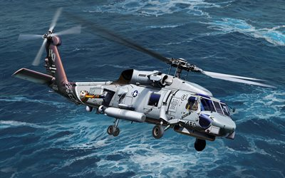 Sikorsky SH-60 Seahawk, art, deck helicopter, combat aircraft, US Army, US Navy, Sea Hawk, SH-60